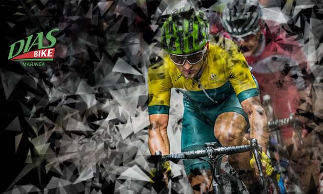 Ciclista com roupa de ciclismo verde e amarela, capacete e óculos -
