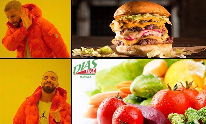 Hamburger versus Comida saudável