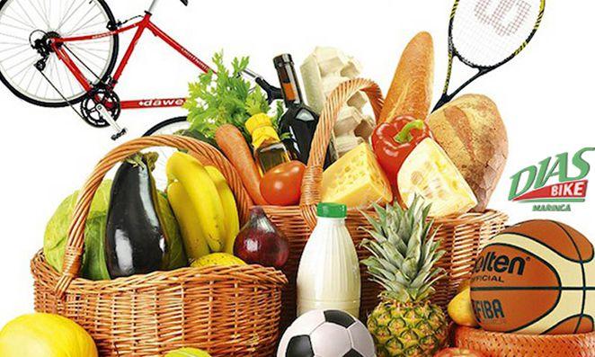 Vegetais, frutas e artigos esportivos